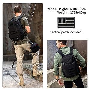bfa6b69705d ArcEnCiel Men Tactical Military Molle Gym Bag Badminton Backpack with Patch  -Rain Cover Included (Black) (Color  ...