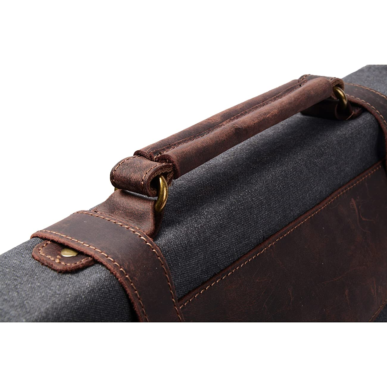 S ZONE Vintage Canvas Leather Messenger Traveling Briefcase Shoulder Laptop Bag 5
