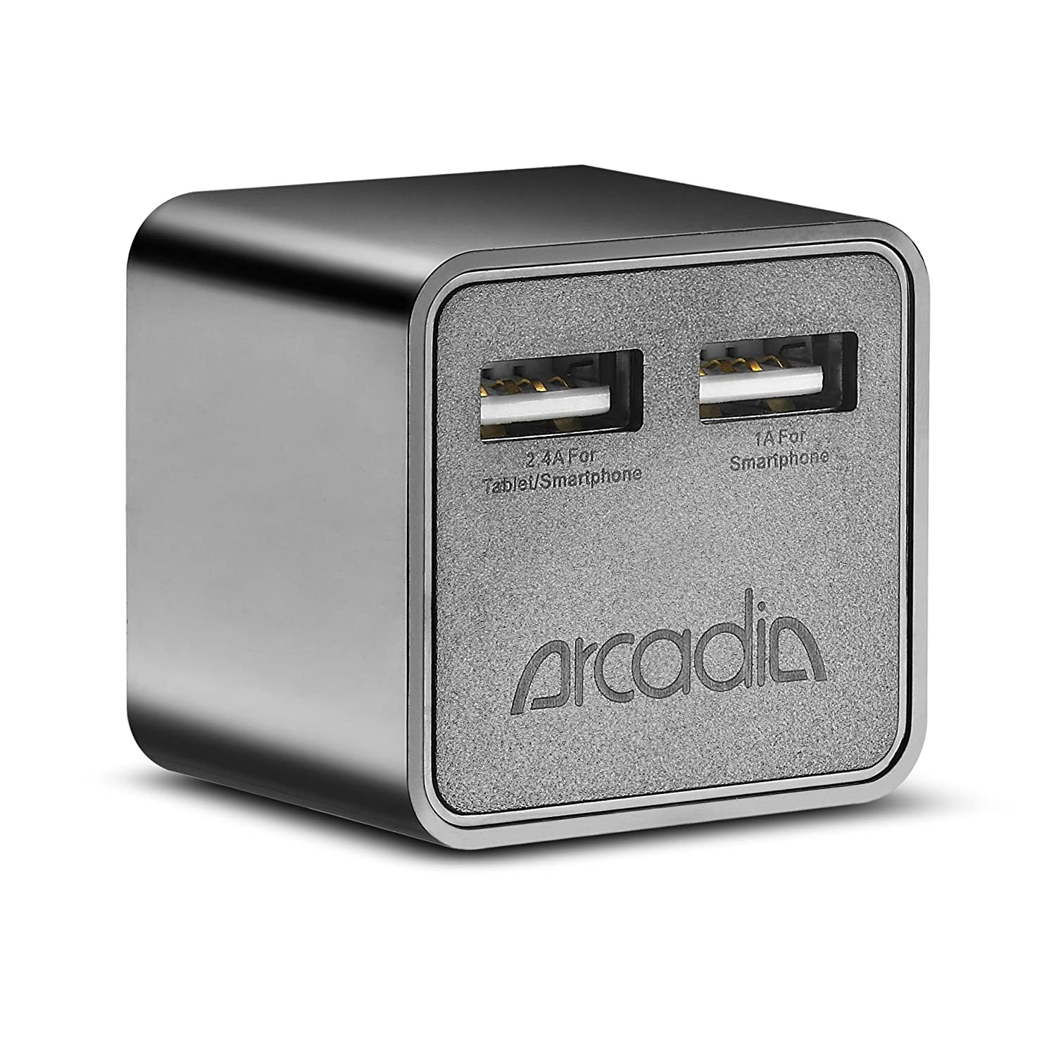 Wall Charger, Arcadia NT90C 17W 5V/3.4A (Dual USB Ports) (High-Speed) AC Wall Charger with (Foldable Prong) for most of the Smartphones, iPhone 6, iPhone 6 Plus, Galaxy S5,.. 5V Tablets, iPad Air, iPad 2/3/4,.. and more