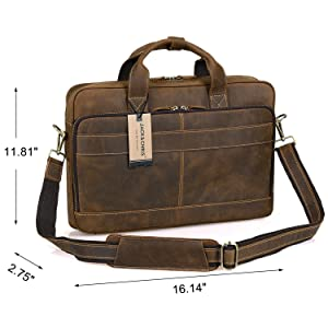 Jack Chris Men s Genuine Leather Briefcase Messenger Bag Attache Case 15.6  Laptop 869c3656f5864