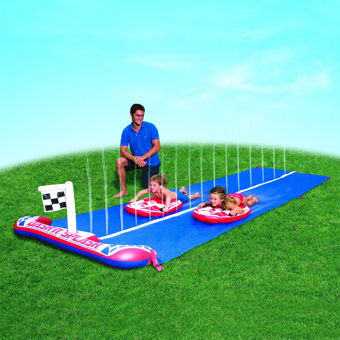 toboggan d 39 eau piscine pour enfant et piste de course jeux. Black Bedroom Furniture Sets. Home Design Ideas