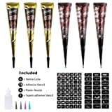 Henna Tattoos Kits - 6 Brown Natural Temporary Henna Tattoo Paste Cone with 48 x Adhesive Stencil, 1 x Applicator Bottle and 4 x Plastic Nozzle (Black and Brown)