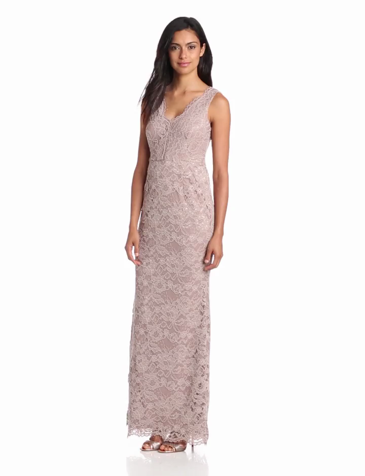 Adrianna Papell Womens V Neck Lace Gown, Mauve, 2
