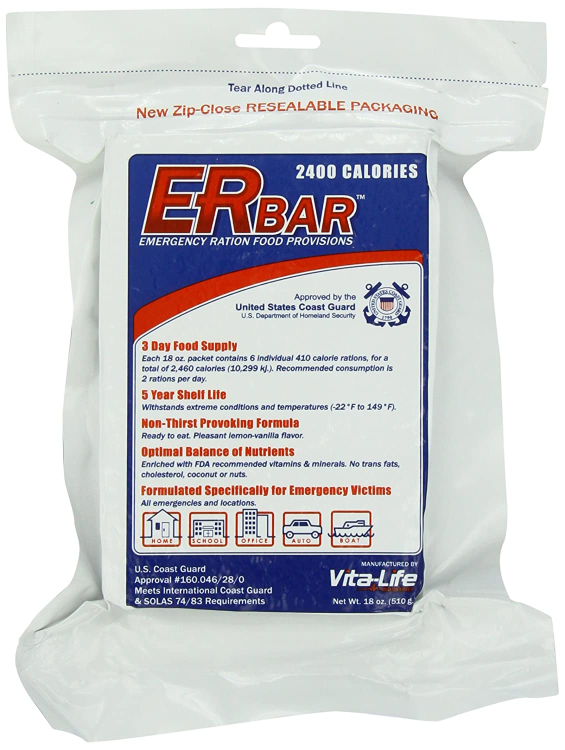 ER Emergency Ration 5-year 2400+ Calorie Bar (Pack of 4)