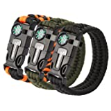 OXA Survival Paracord Bracelet, Emergency Outdoor Paracord Survival Bracelet with Multi Tool - Embedded Compass, Fire Starter, Emergency Knife, Whistl