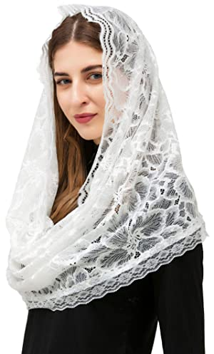 Pamor Infinity Floral Veils Scarf Chapel Veil Head Covering Wrap Style Latin Mass Lace Mantilla