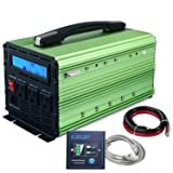 EDECOA Power Inverter Pure Sine Wave 1000W Peak 2000W DC 12V to AC 110V with LCD Display and Remote Controller - Green