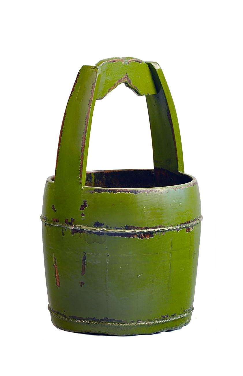Antique Revival Ridged-Handle Wooden Water Bucket, Green 0