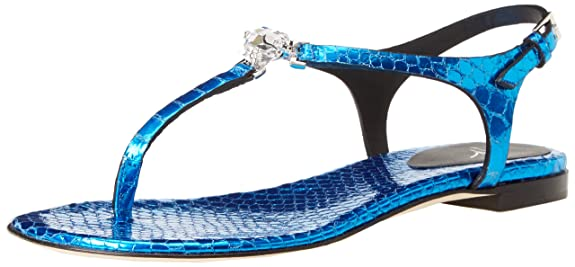 Giuseppe Zanotti Women's E40146 Flat Sandal,Turquoise,7 B US