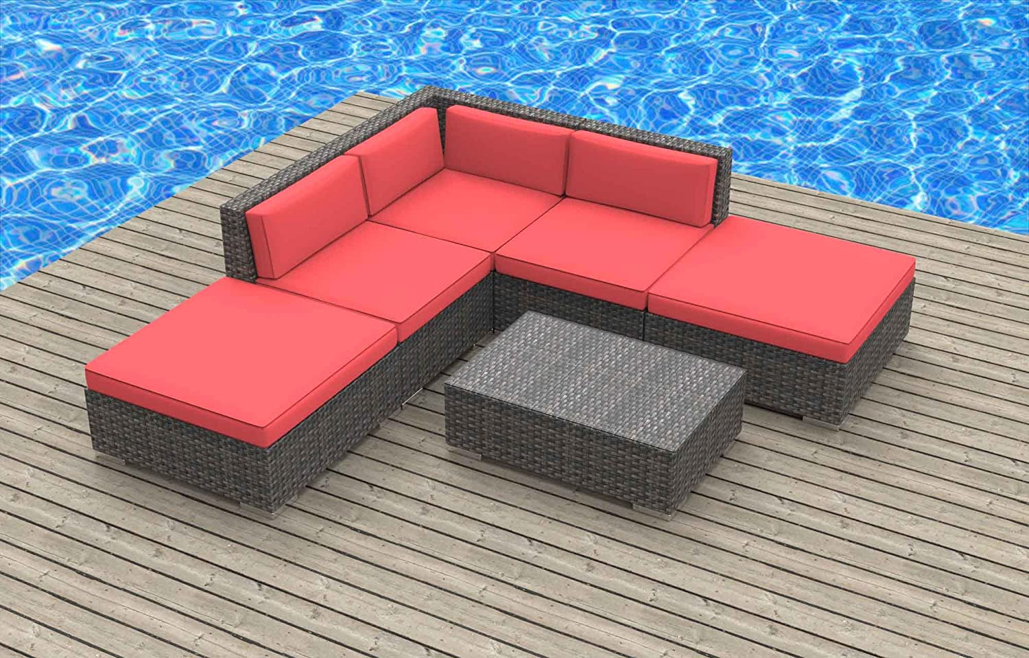www.urbanfurnishing.net Urban Furnishing - BALI 6pc Modern Outdoor Backyard Wicker Rattan Patio Furniture Sofa Sectional Couch Set - Coral Red at Sears.com