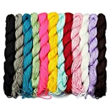 LolliBeads (TM) 12 Pcs of 80 Feet 1 mm Nylon Beading String or Knotting Cord, Assorted Multi Color (Color: Assorted Color)