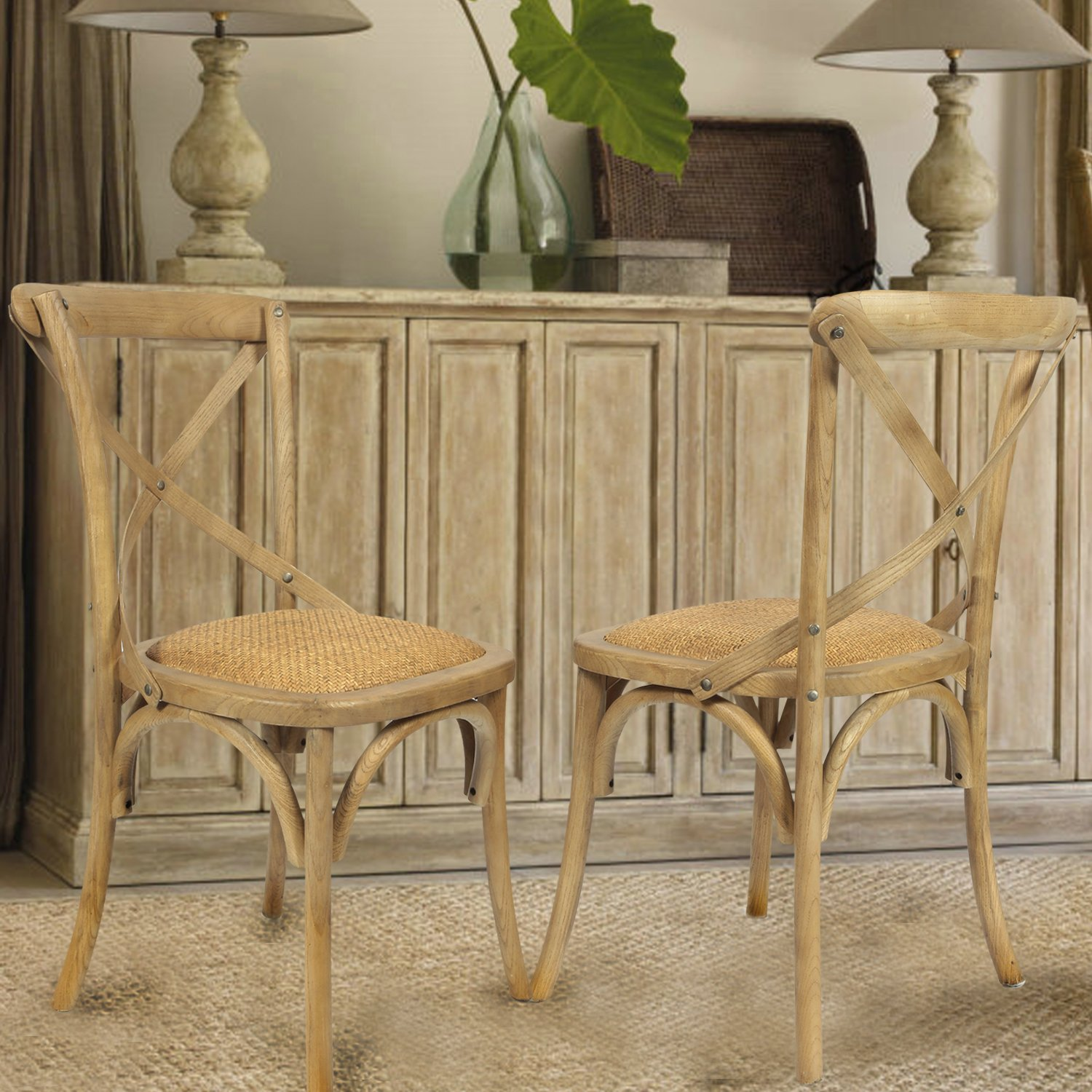 Set Of 2 Antique Wooden Dining Chairs Padded Seat Rattan