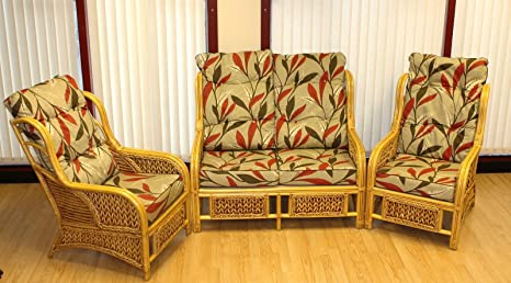 Lotus Conservatory Cane Suite Set 2 Seater Sofa and 2 Armchairs in Elegant Leaf Fabric