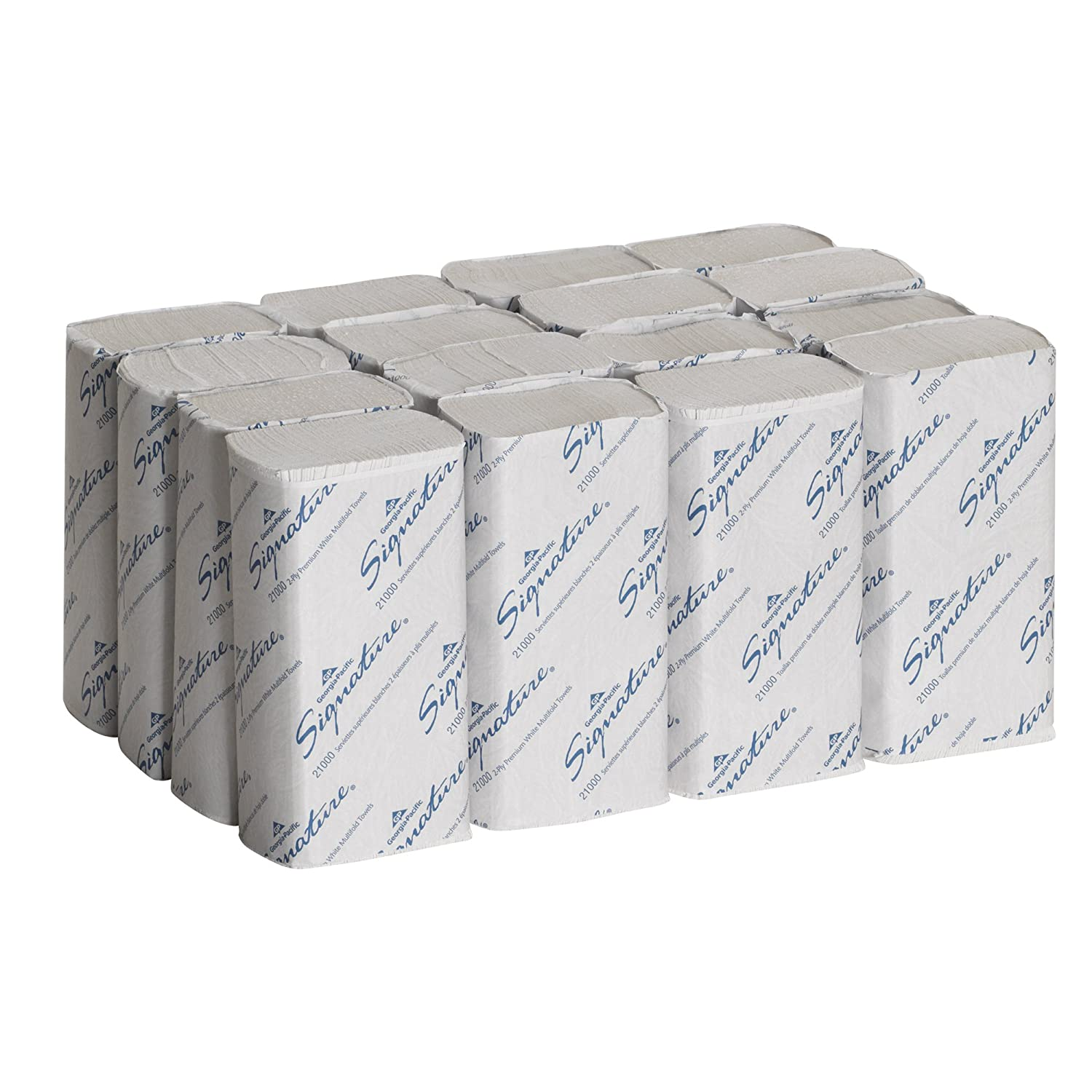 Georgia-Pacific GEP21000 Signature 2-Ply Premium Multifold Paper Towel, White, 9.4-inch x 9.2-inch (Case of 16 Packs, 125 per Pack)