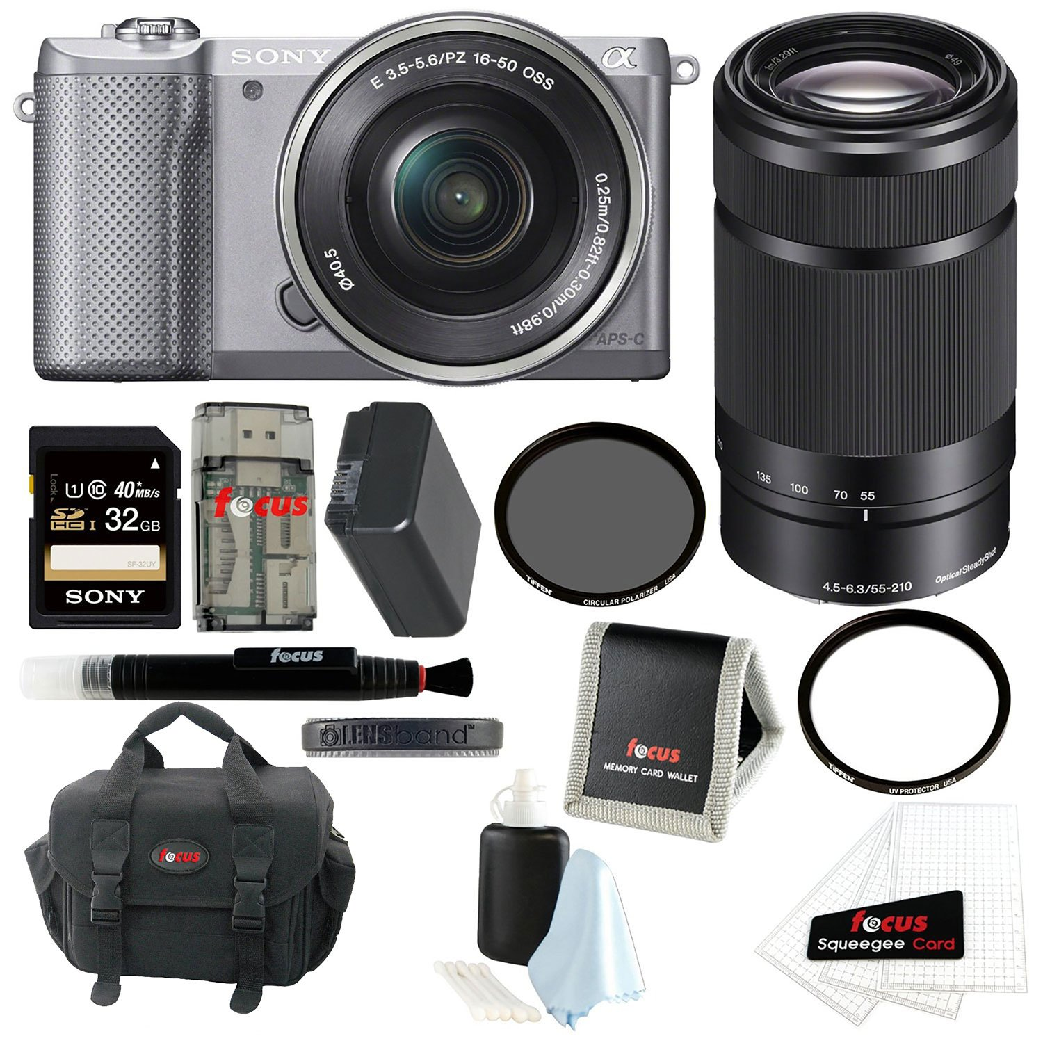 Sony Alpha A5000 ILCE-5000L/S Mirrorless Digital Camera (Silver) + Sony SEL55210/B 55-210mm f/4.5-6.3 Telephoto Lens + Sony 32GB SDHC/SDXC Class 10 UHS-1 Memory Card + Focus Soft Carry Case + NPFW50 Battery for Sony + Accessory Kit