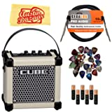 Roland Micro Cube GX Battery-Powered Guitar Amplifier - White Bundle with Instrument Cable, Batteries, 24 Picks, and Austin Bazaar Polishing Cloth (Color: White)