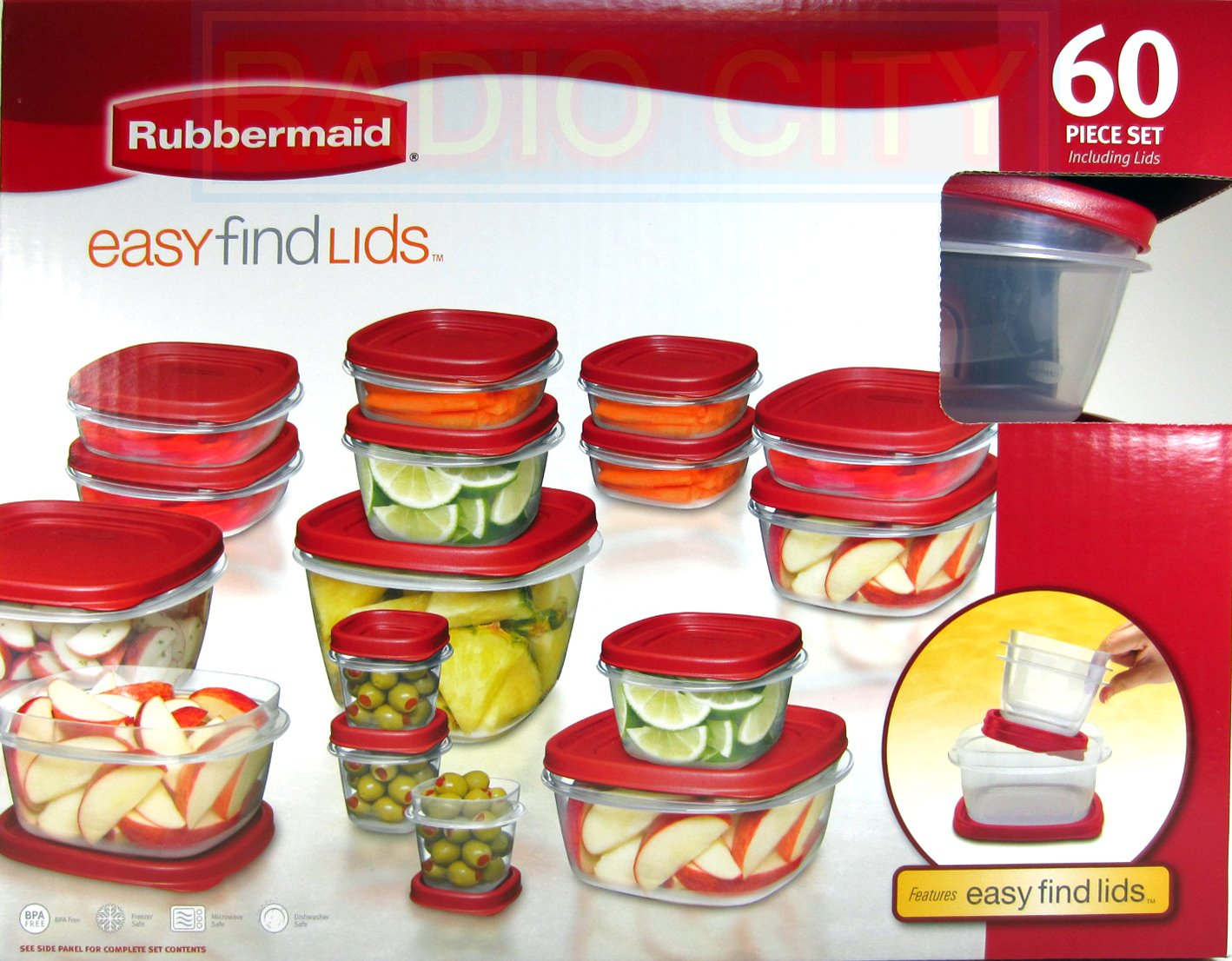Rubbermaid 60 Piece Set BPA-FREE Plastic Food Storage Containers with Easy Find Lids