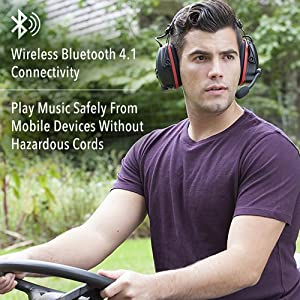 Honeywell Sync Wireless Earmuff with Bluetooth 4.1 (RWS-53016) (Color: Black with Red Accents)
