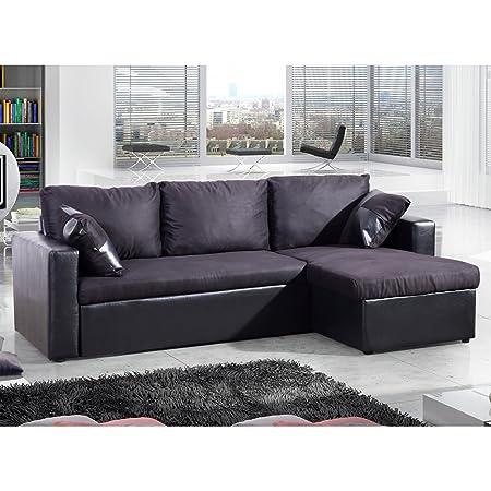 Le Kyklos Noir : Canapé d'Angle Convertible Lit et Coffre de Rangement