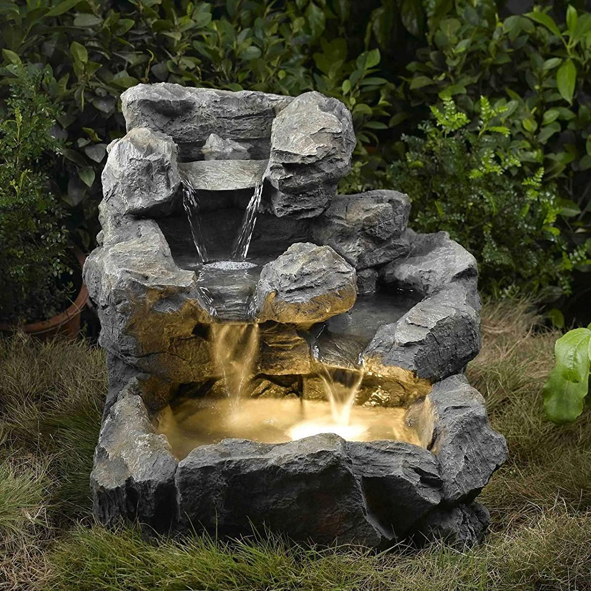 Floor Water Fountain Electric Pump LED Rock Garden Yard Pond Patio Waterfall Outdoor NEW