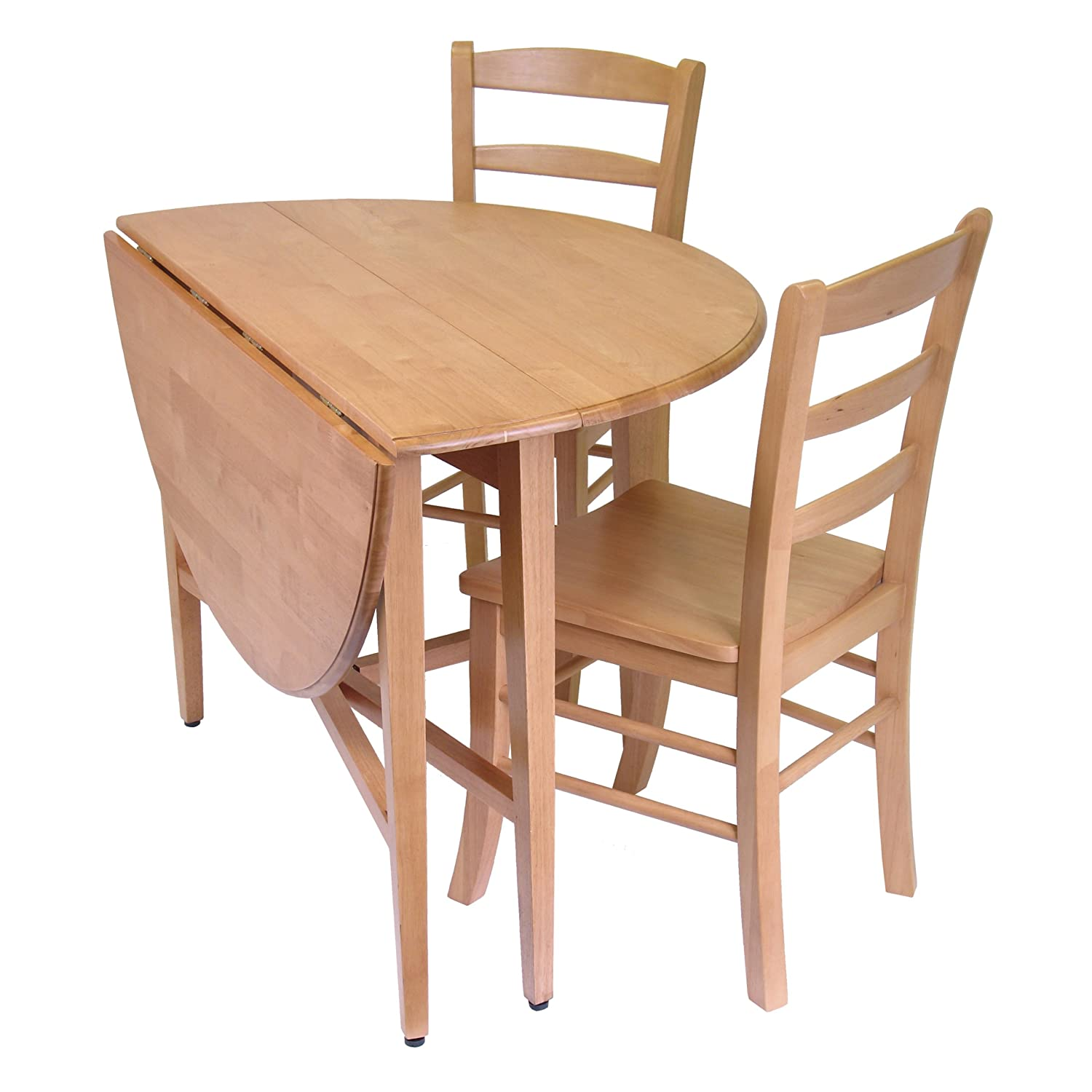 Light oak finish dining set 42 inch double drop leaf table for Dining table with two leaves