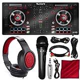 Numark Mixtrack Platinum DJ Controller with Jog Wheel Display and Headphones + Microphone Deluxe Bundle