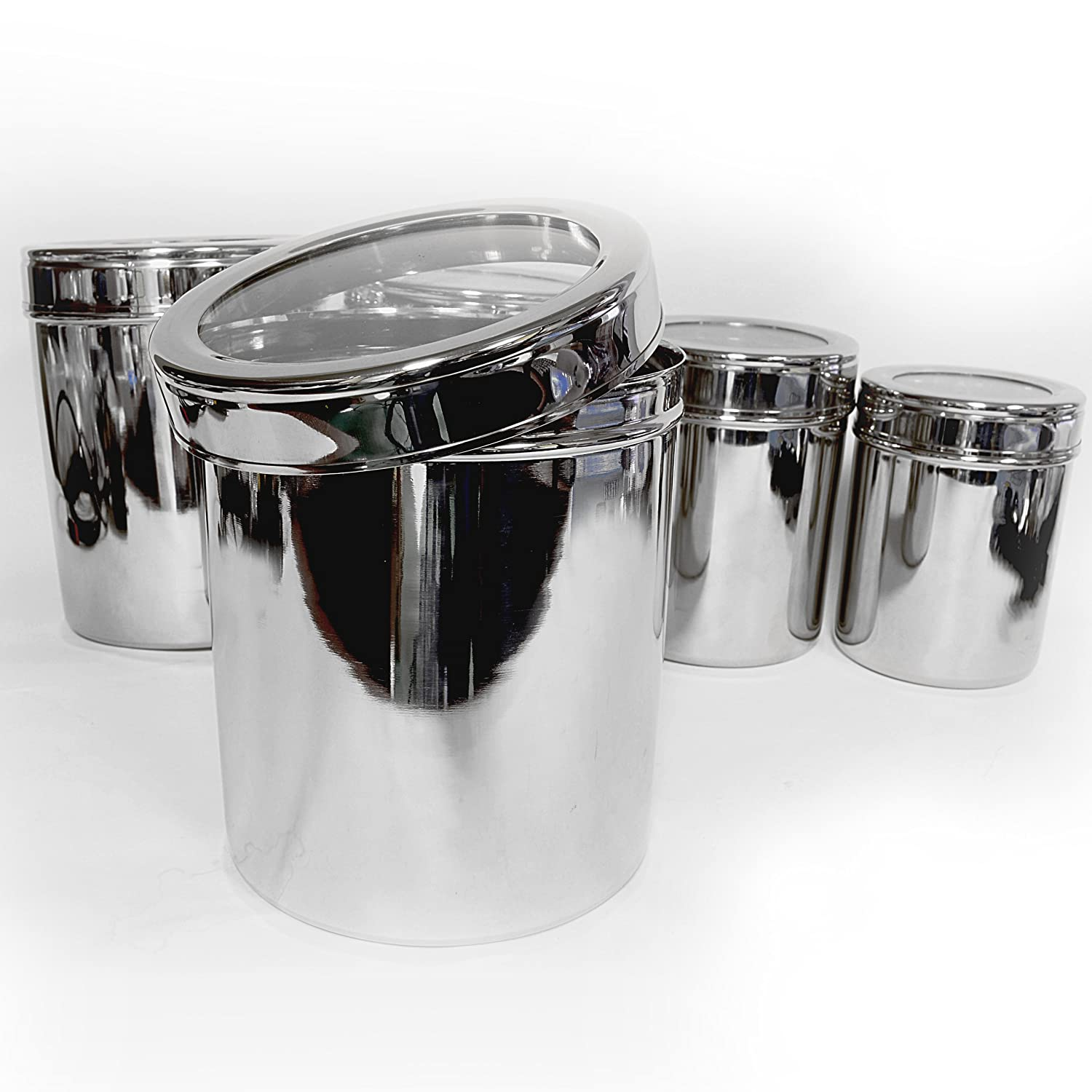 matbah stainless steel 5 piece canister set with clear lid new free shipping ebay. Black Bedroom Furniture Sets. Home Design Ideas