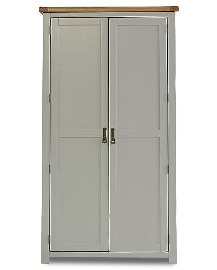 Birlea New Hampshire 2-Door Wardrobe - Wood, Grey and Oak
