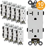 ENERLITES Industrial Grade Decorator Outlet, 20A 125V, Tamper-Resistant Duplex Receptacle, Self-Grounding, 5-20R, 2-Pole, 3-Wire Grounding, UL Listed, 63200-TR, White (10 Pack)