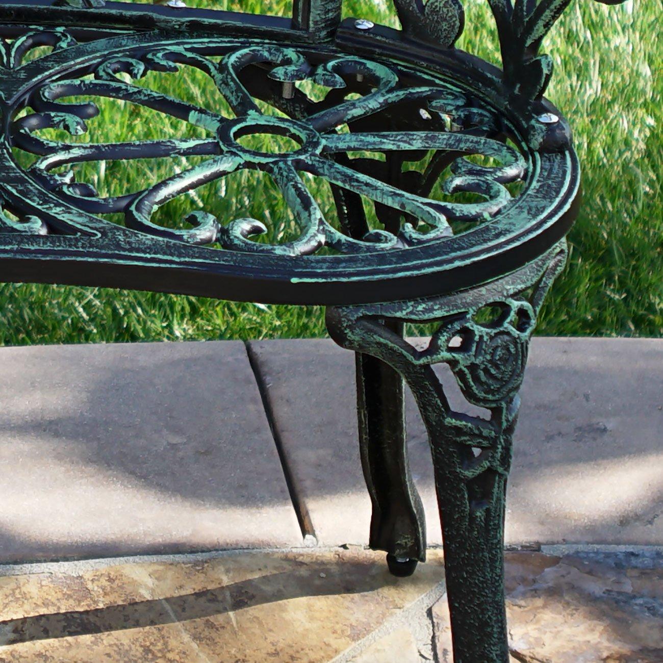 Belleze Cast Iron Antique Rose Style Design Outdoor Patio Garden Park Bench, Green 2