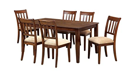 Furniture of America Stoney 7-Piece Dining Set, Brown Cherry
