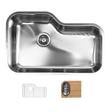 Ukinox DX760.GC Modern Undermount Single Bowl Stainless Steel Kitchen Sink with Bottom Grid & Cutting Board