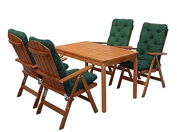 Ambientehome 90542 Gartengarnitur Gartenset Sitzgruppe verstellbare Klappstuhle Stranda braun inkl. grune Kissen und Tisch Evje 120x70 cm 9-teiliges Set