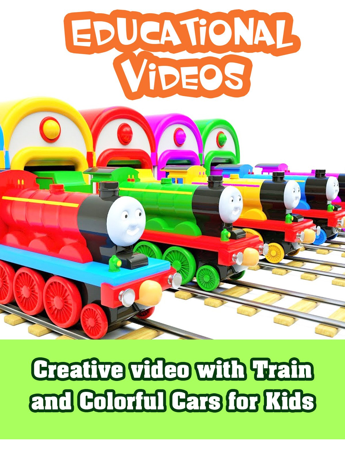 Creative video with Train and Colorful Cars for Kids