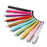 Stylus Pen LIBERRWAY 10 Pack of Pink Purple Black Green Silver Stylus Universal Touch Screen Capacitive Stylus for Kindle Touch ipad iPhone 6/6s 6Plus 6s Plus Samsung S5 S6 S7 Edge S8 Plus (Color: Colorful, Tamaño: 4.45 inch long)