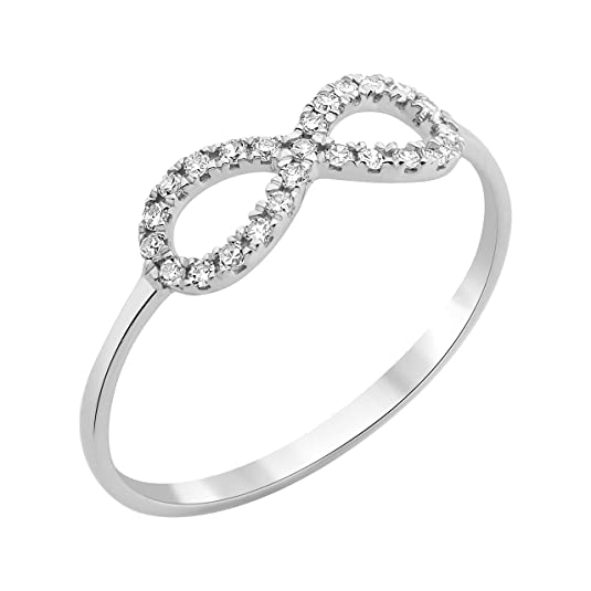 Miore Knot Ring Necklace 9 ct White Gold and Diamond 0.12 Carat T56-MF9068R6