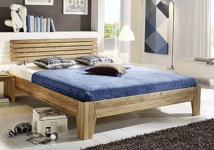 Bett Doppelbett 'Klara' 180x200cm Wildeiche geölt massiv Holz