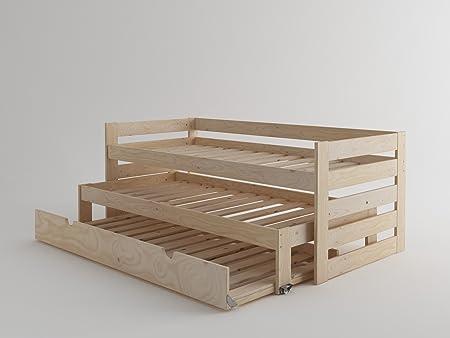 Lit compact en bois avec lit gigogne (Bois massif poli)