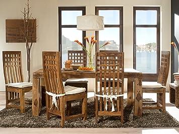 Massivum Cubus Esstisch mit 6 Stuhlen, Sitzhöhe: 47 cm, Holz, braun, 90 x 160 x 78 cm