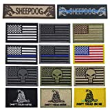 Bundle 14 Packs USA Flag Patches Thin Blue Line Tactical Military Morale Velcro Patch Set Morale Patches Set for Caps,Bags,Backpacks,Tactical Vest,Military Uniforms (color2) (Color: color2)