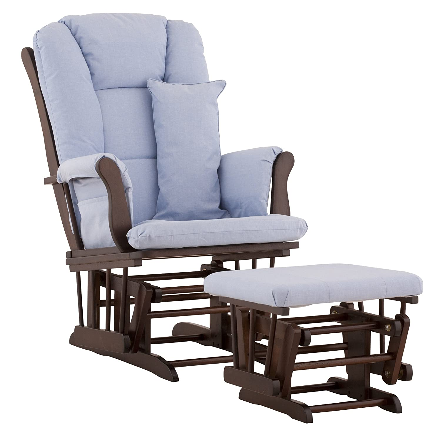 Stork Craft Custom Tuscany Espresso Finish Glider and Ottoman. Click for more baby items that helped me survive the first year of baby!