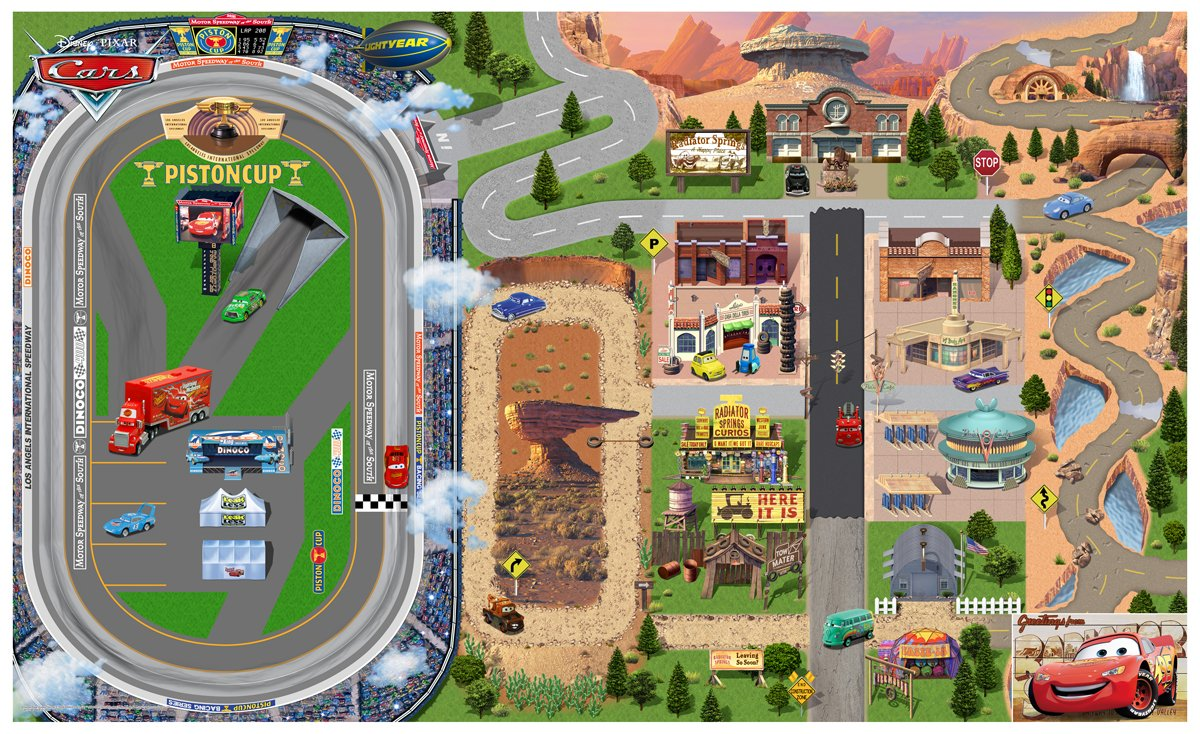 Cars Play Mat Radiator Springs Piston Cup Circuit Disney