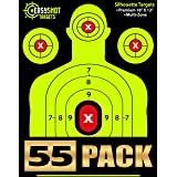 """55-PACK"" SHOOTING TARGETS - High-Contrasting Yellow & Red Colors Make it Easy to See Your Shots Land - Heavy-Grade Silhouette Paper Sheets - 150 Free Repair Stickers & EBOOK - Best Value Gun Targets."