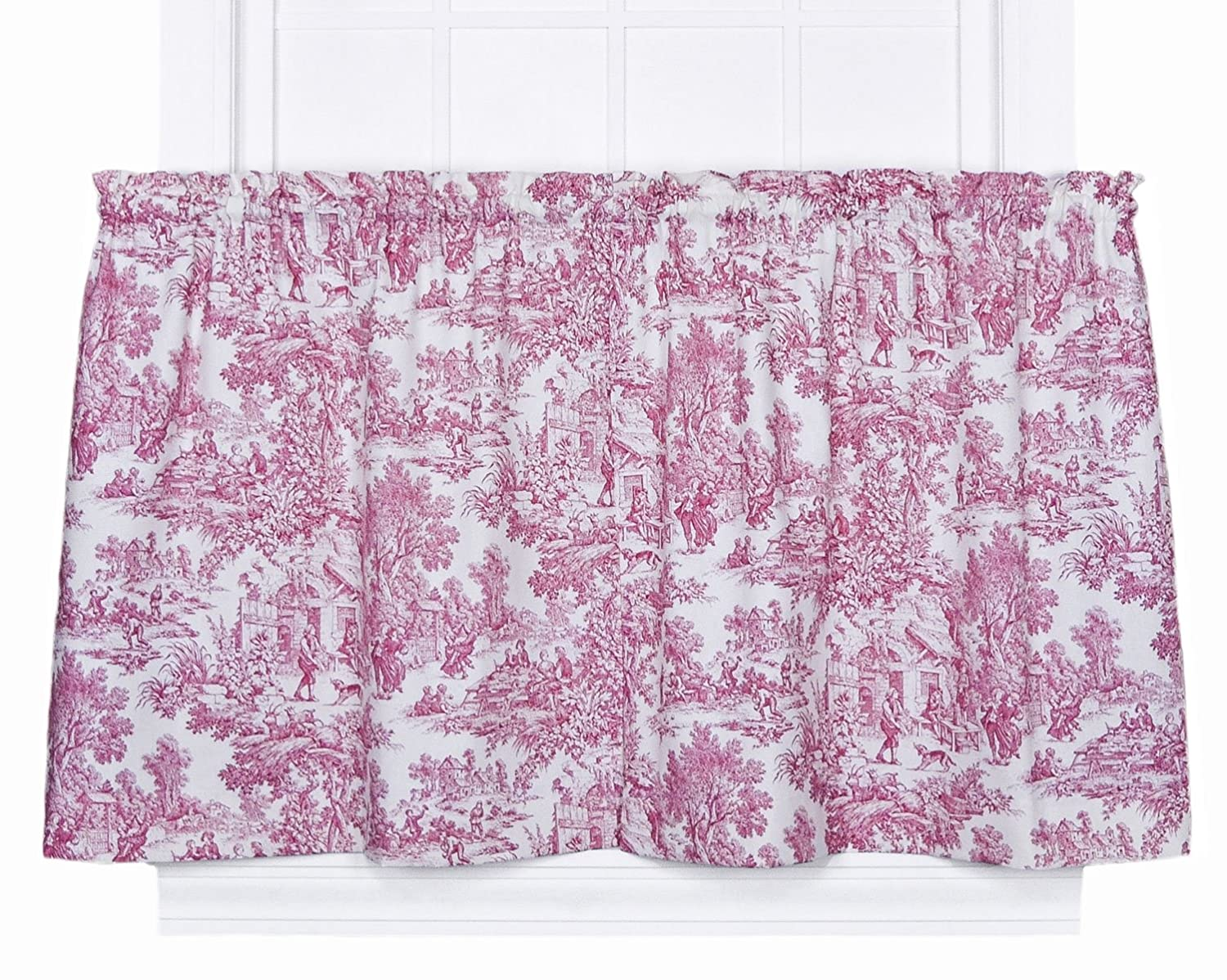 Victoria Park Toile 68 Inch By 24 Inch Tailored Tier Curtains Red New Free S Ebay