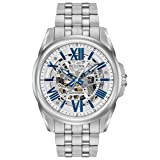 Bulova Men's Mechanical Hand Wind Stainless Steel Dress Watch, Color:Silver-Toned (Model: 96A187) (Color: Stainless Steel, Tamaño: One Size)