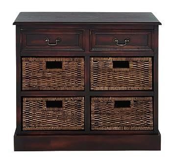 Benzara Manhattans Coppice Exclusive Basket Dresser, 31.26 by 31.26 by 31.26-Inch, Brown
