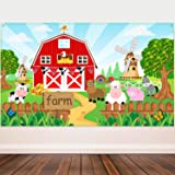 Farm Animals Theme Party Decorations, Farm Animals Barn Backdrop Banner for Grass Children Birthday Party Supplies, Farm Animals Scenic Background Photo Booth Banner, 72.8 x 43.3 Inch