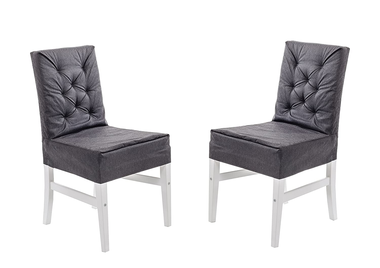 GARDENho.me 2er Set Massivholz Dining Stuhl MARIHAMN Weiß mit schwarzem Überzug Husse günstig online kaufen