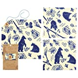 Bee's Wrap Lunch Pack, Eco Friendly Reusable Sandwich & Food Wrap Set, Sustainable Plastic-Free Lunch Organizer - Includes 1 Sandwich Wrap, 2 Medium Food Wraps in Bees + Bears Print (Color: Bees + Bears Print)