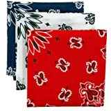 Bandana 3-Pack - Made in USA For 70 Years - Sold by Vets – 100% Cotton –Sewn Edges – Printed Both Sides